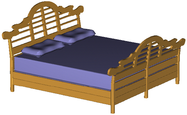 king size bed -- perspective view